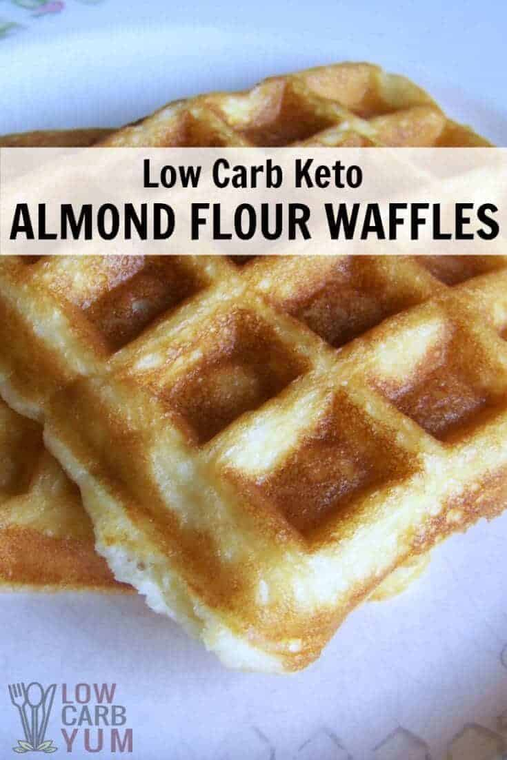 Delicious low carb and gluten free waffles are just as tasty as ones made with wheat flour. These almond flour waffles can be made ahead and frozen for quick and easy breakfast. | LowCarbYum.com