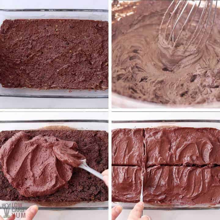 baking and frosting keto zucchini brownies