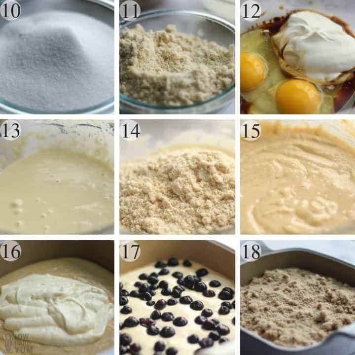 Final steps to make a blueberry low carb gluten free coffee cake.