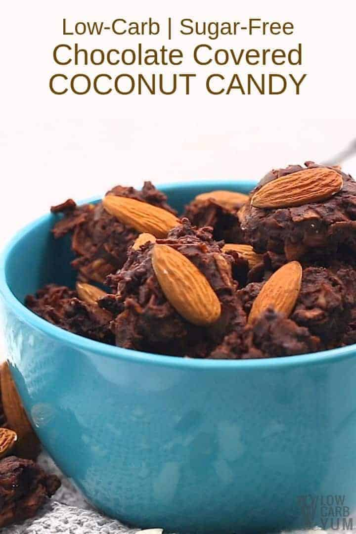Easy chocolate covered coconut candy recipe without sugar