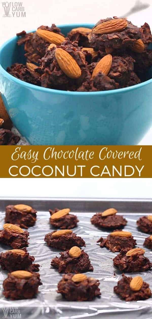 Tasty almond topped low carb candy bites. This simple chocolate covered coconut candy recipe is an easy to make treat for those on a sugar free diet. #lowcarb #keto #lowcarbrecipes #ketorecipes #lowcarbdesserts #ketodesserts #candy #coconut #weightwatchers #Atkins| LowCarbYum.com