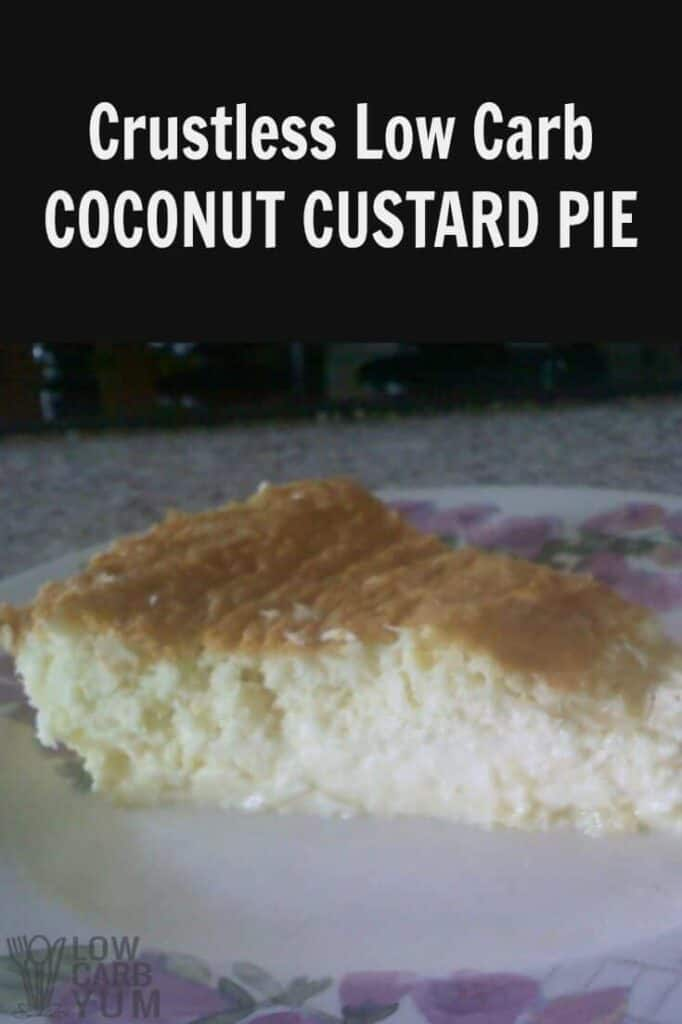 Low carb dairy free crustless coconut custard pie recipe
