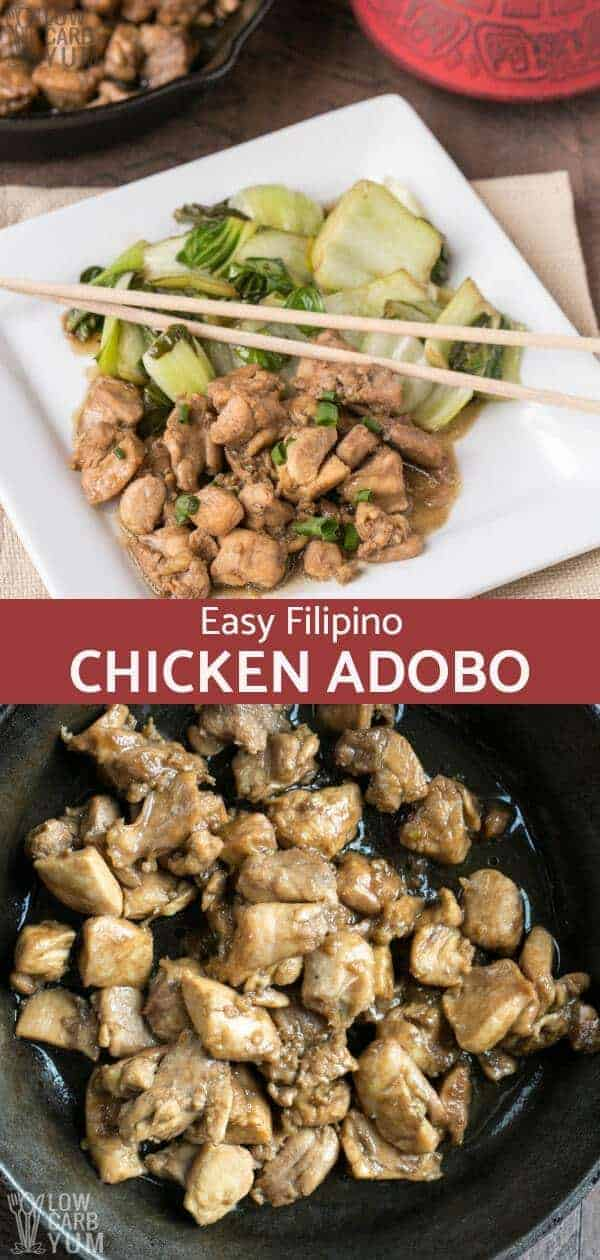 Filipino chicken adobo makes a delicious low carb dish. The meat is cooked in a tangy mix of cider vinegar, soy sauce and garlic. It's a family favorite! #FilipinoFood #chickenrecipe #easyrecipe #ketodinner #lowcarbmeal #ketorecipes | LowCarbYum.com