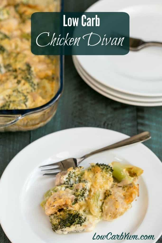 Get the taste of chicken divan without the extra carbs. This low carb chicken divan recipe is simply chicken and broccoli in a Parmesan cheese sauce. LCHF Keto Atkins