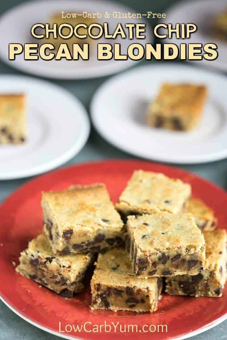 Chewy low carb gluten free chocolate chip pecan blondies that are quick and easy to prepare. No one will guess that these cookie bars are sugar free. #sugarfree #sugarfreedessert #lowcarb #glutenfree #glutenfreedessert #quickandeasyrecipe | lowcarbyum.com