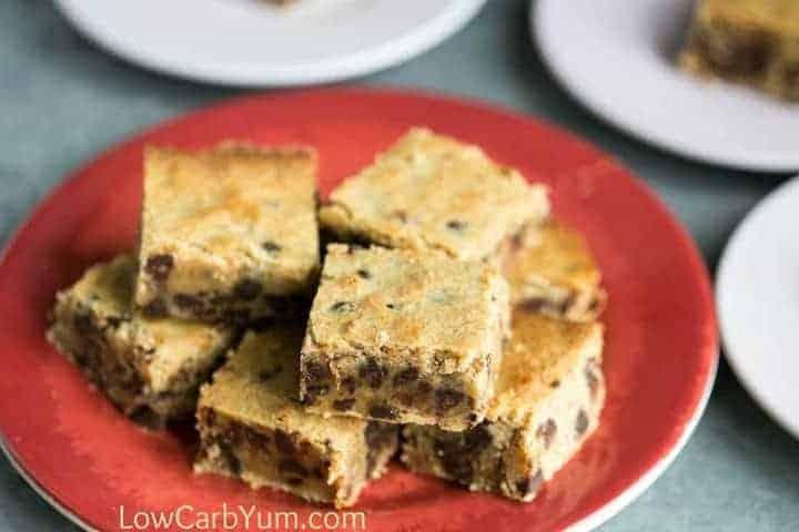 Low carb gluten free chocolate chip pecan blondies