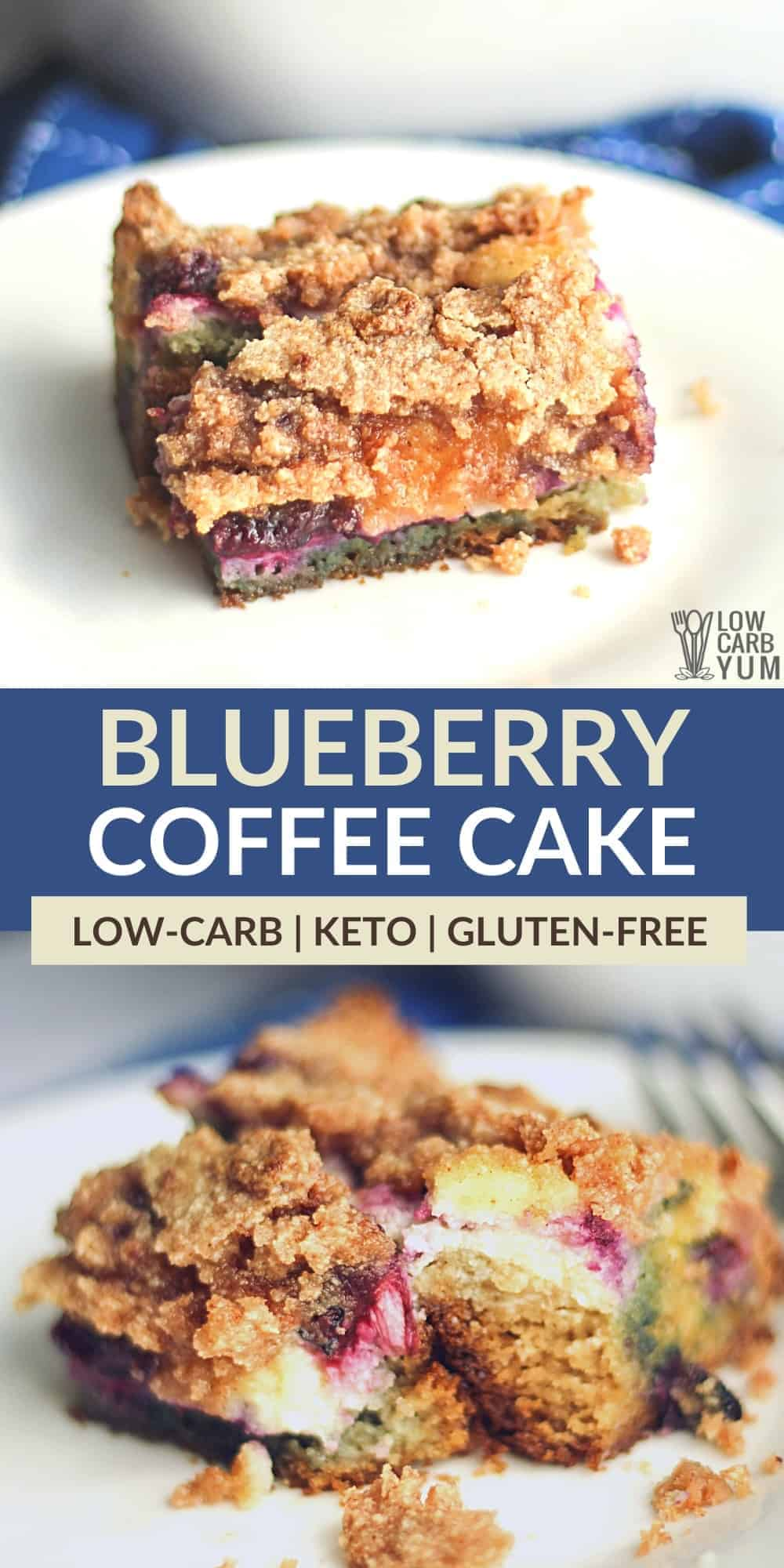 low carb blueberry coffee cake pinterest image