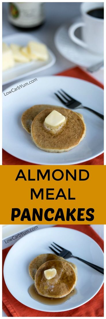 Low carb and gluten free almond meal pancakes are easy to make using almond flour. This basic recipe is very popular. Perfect with sugar free syrup! | lowcarbyum.com
