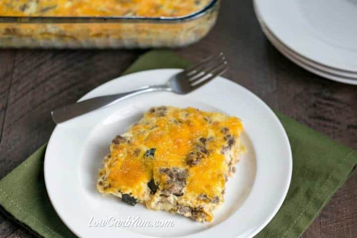 low carb gluten free squash casserole with cheese featured
