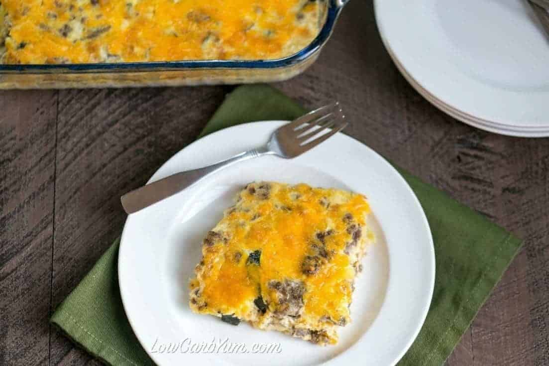 low carb gluten free squash casserole with cheese on plate