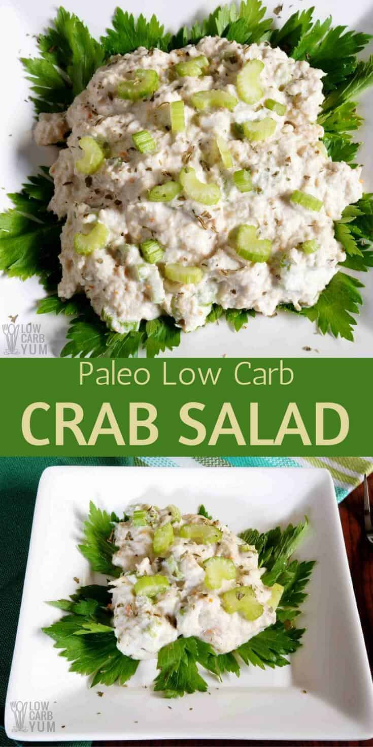 This tasty paleo low carb crab salad has the usual spices. But, there's a hint of natural stevia sweetener added to enhance the flavor. #paleo #lowcarb #crabsalad #seafood #lowcarbrecipe | LowCarbYum.com