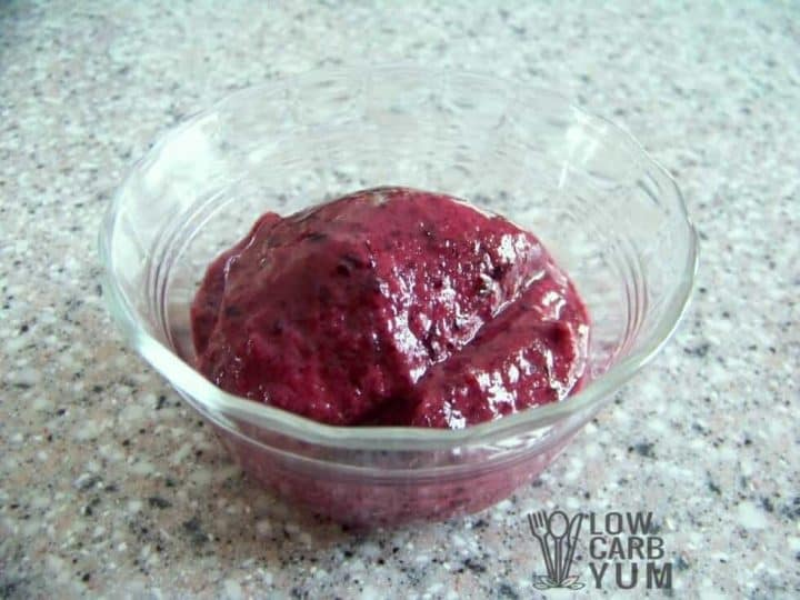 Blueberry sugar free low carb sorbet featured