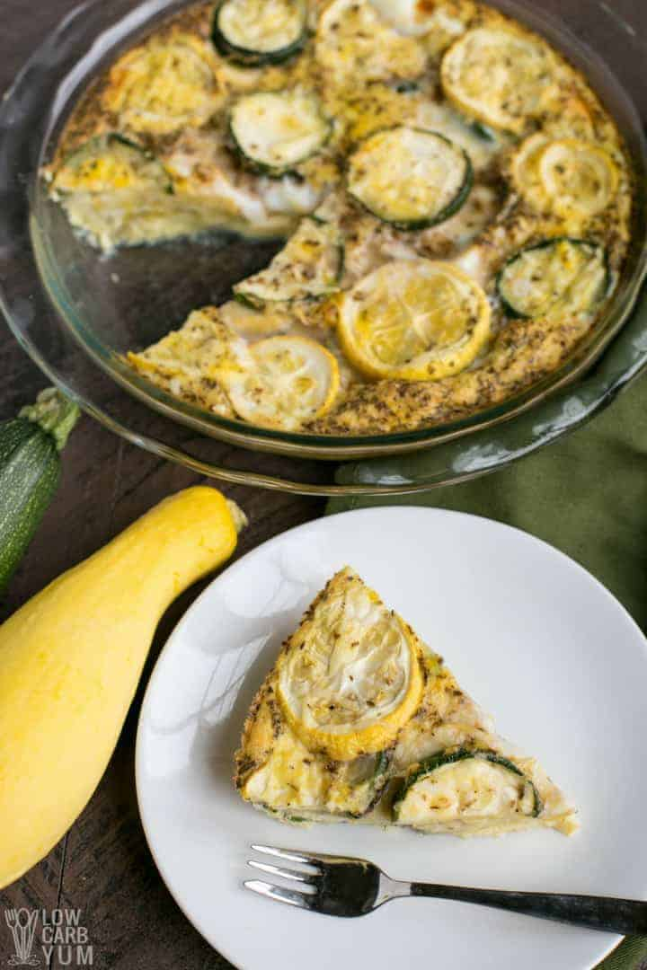 Serving up a simple low carb yellow summer squash frittata