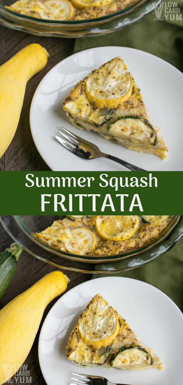 An easy low carb frittata made with zucchini and yellow squash. It's perfect for breakfast or brunch. A little cheese sprinkled makes it hard to resist. #lowcarb #zucchini #summersquash #yellowsquash #frittata | LowCarbYum.com