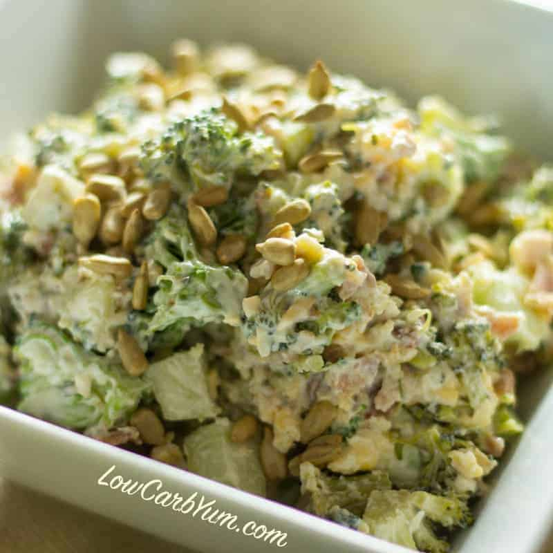 Low Carb Broccoli Salad with Bacon and Cheese