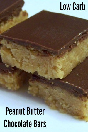 Low carb peanut butter cup chocolate bars