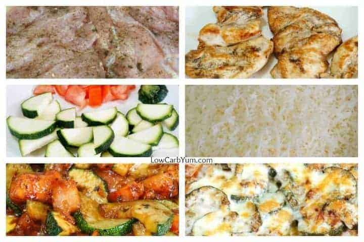 Baked chicken and zucchini casserole collage