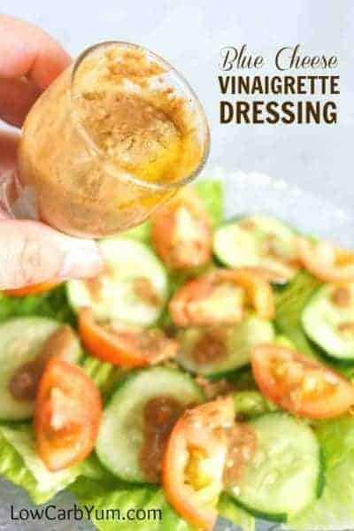 This low carb blue cheese vinaigrette dressing is sure to please. Adds an extra special touch to a plain low carb salad. Made with balsamic vinegar. | LowCarbYum.com