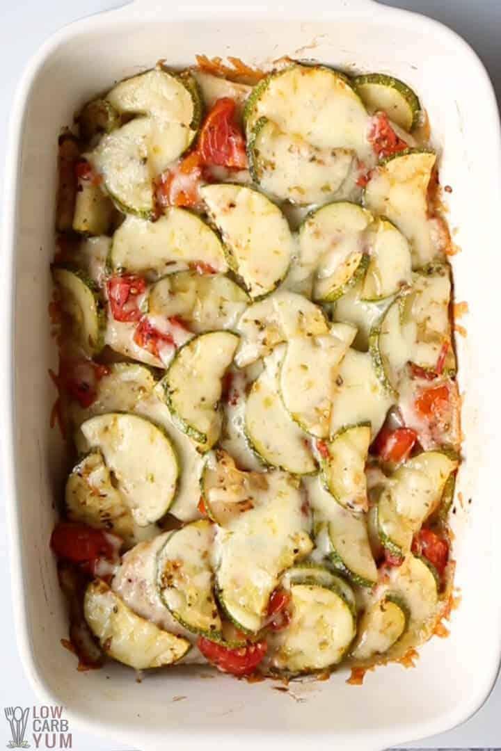 chicken and zucchini bake in casserole pan