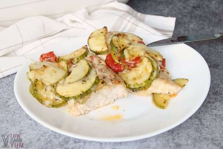 chicken and zucchini casserole cut on plate