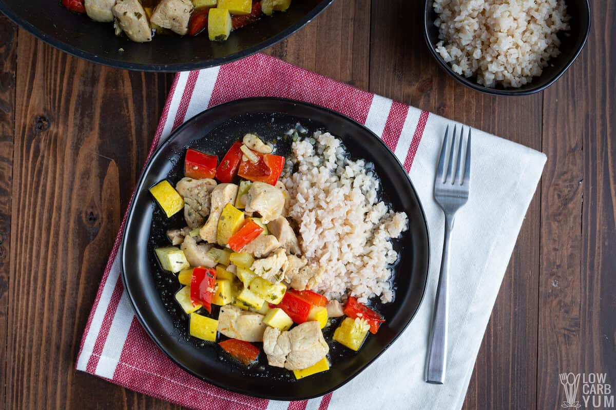 chicken stir fry without soy sauce on plate
