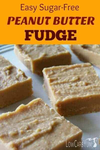Protein powder makes this easy sugar free peanut butter fudge a filling treat. It's a great low carb snack to take along to curb your hunger between meals. | LowCarbYum.com