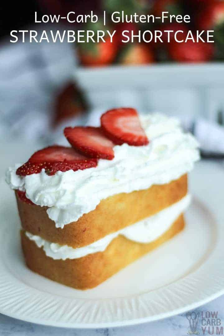 Sugar free low carb gluten free strawberry shortcake recipe. #sugarfree #lowcarb #keto #ketorecipe #weightwatcher #Atkins #strawberry #strawberryshortcake #glutenfree | LowCarbYum.com