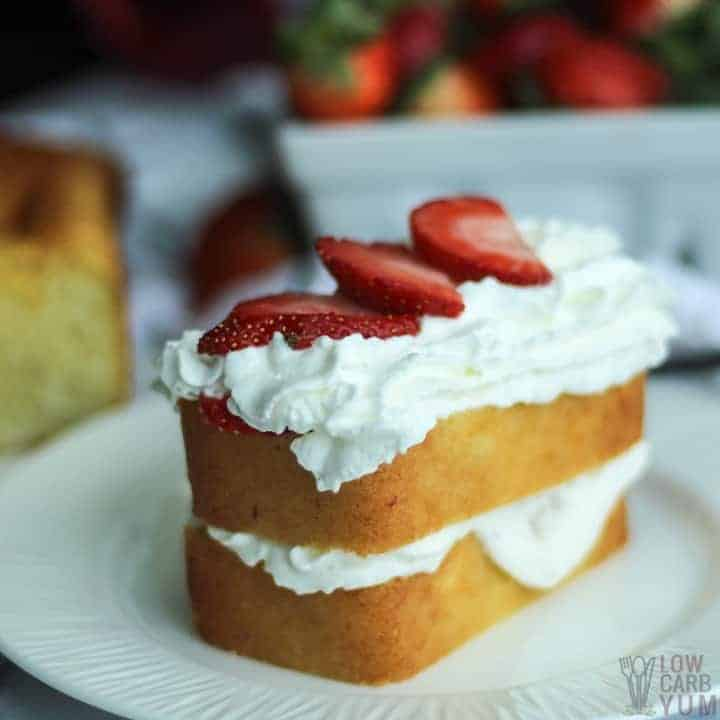 Easy gluten free strawberry shortcake recipe. #sugarfree #lowcarb #keto #ketorecipe #weightwatcher #Atkins #strawberry #strawberryshortcake #glutenfree | LowCarbYum.com