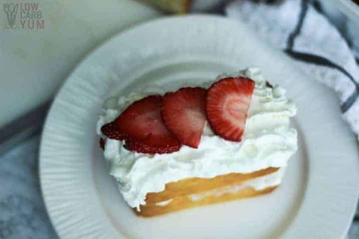 Low carb gluten free strawberry shortcake recipe with poundcake layers. #sugarfree #lowcarb #keto #ketorecipe #weightwatcher #Atkins #strawberry #strawberryshortcake #glutenfree | LowCarbYum.com