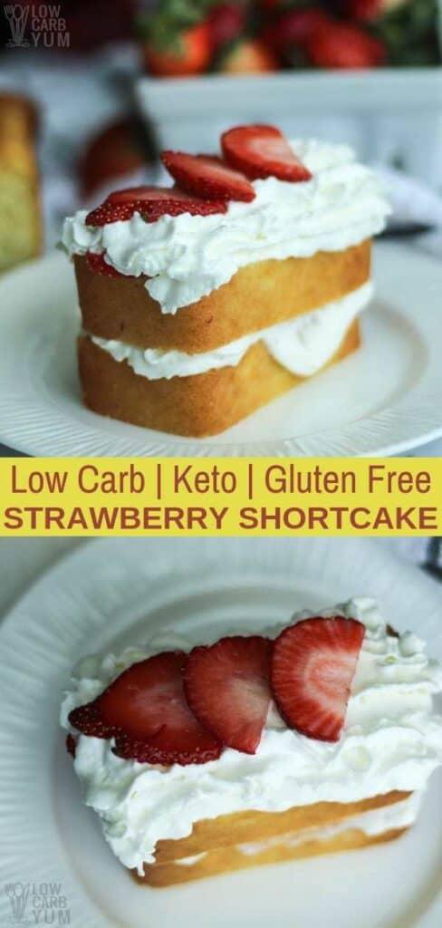 Keto low carb gluten free strawberry shortcake recipe. #sugarfree #lowcarb #keto #ketorecipe #weightwatcher #Atkins #strawberry #strawberryshortcake #glutenfree | LowCarbYum.com