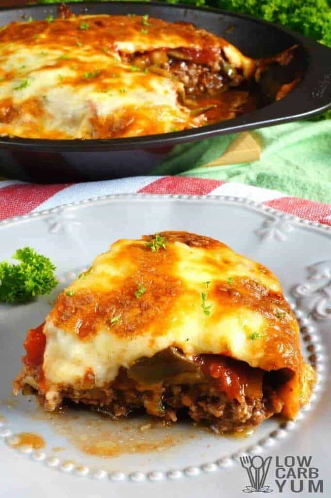 Hamburger pie casserole sliced plate