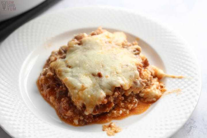 Low carb eggplant lasagna on plate