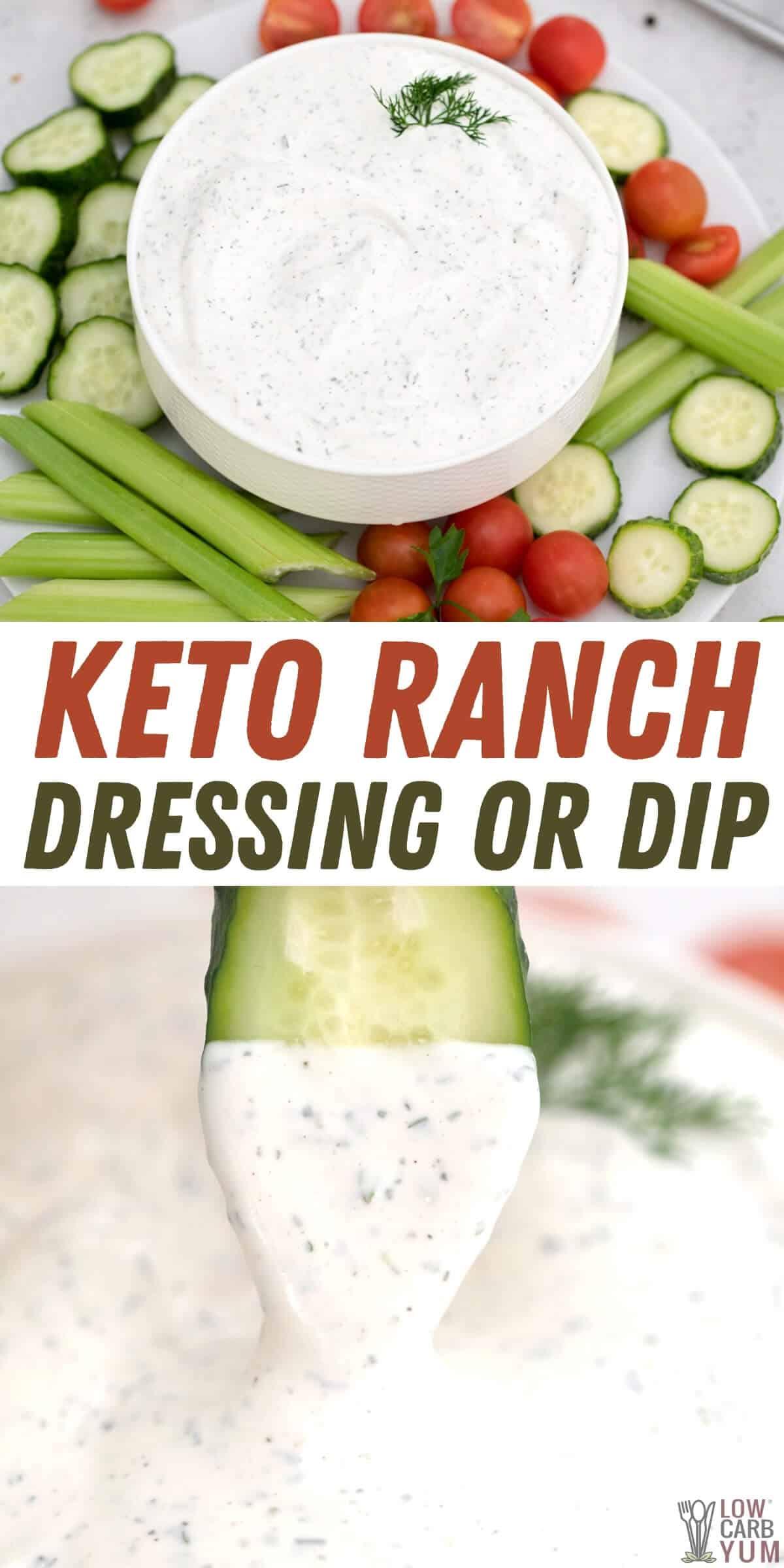 keto ranch dressing or dip pinterest image