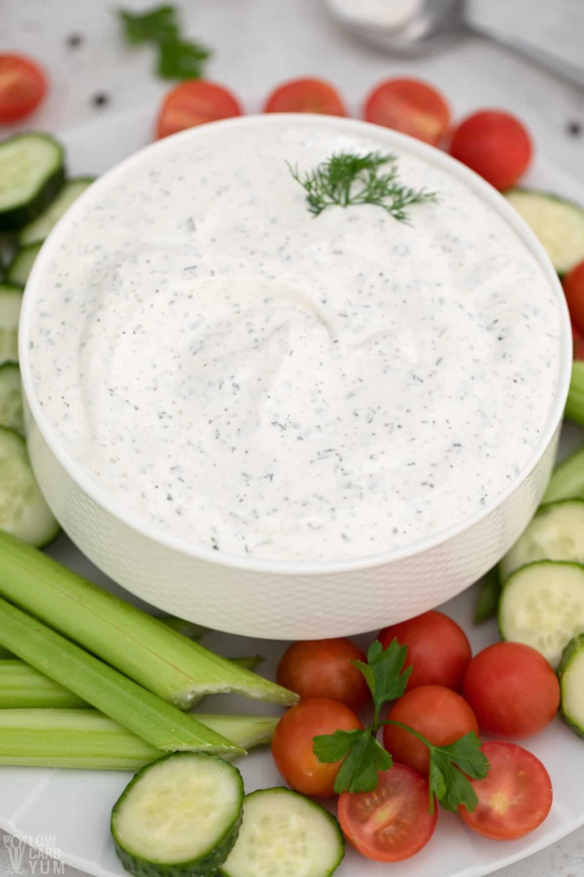 keto ranch vegetable dip in bowl with veggies