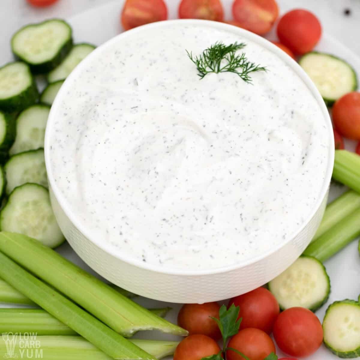 keto ranch veggie dip dressing in white bowl
