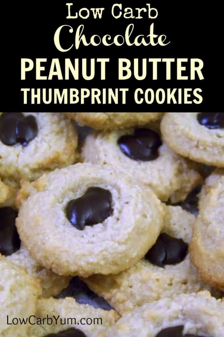 These pretty low carb almond flour gluten free thumbprint cookies are easy to make. It's a basic dough with peanut butter and chocolate topped. | LowCarbYum.com