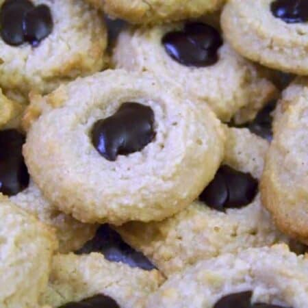 Low carb almond flour gluten free thumbprint cookies tall square