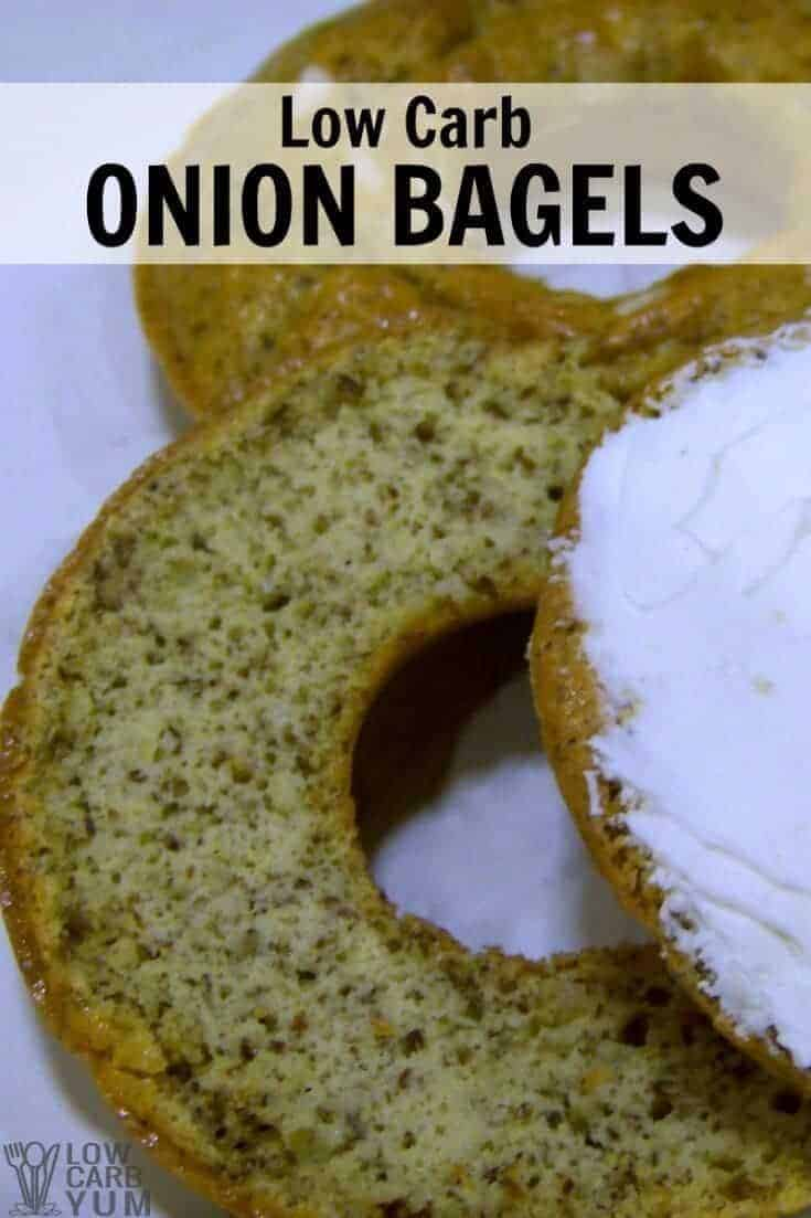 An easy low carb bagel recipe made at home with a donut mold pan. These gluten free onion bagels are made with flax and coconut flour. | LowCarbYum.com