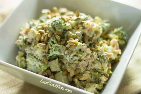 Low carb broccoli bacon cheddar salad