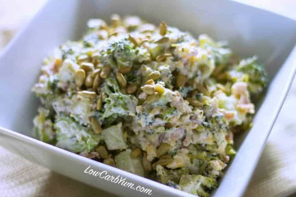Low carb broccoli bacon cheese salad closeup