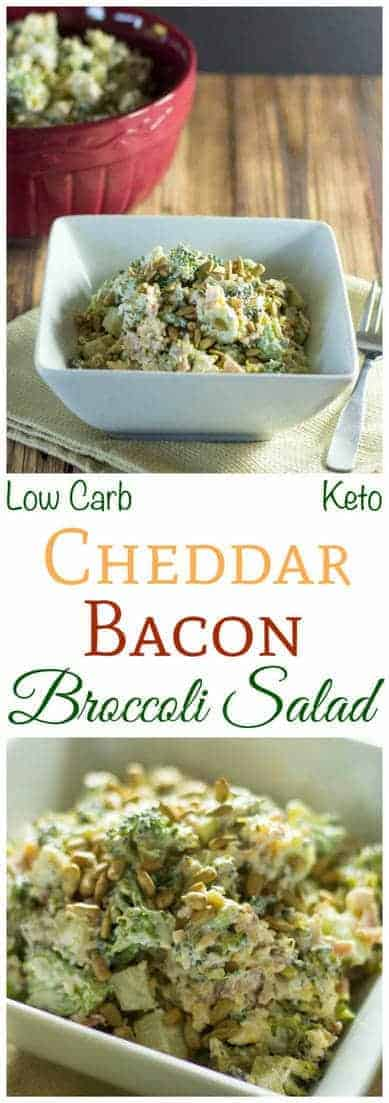 This simple low carb broccoli salad is great for a summer picnic or potluck. The tangy creamy dressing makes this broccoli bacon cheese salad a winner. | LowCarbYum.com