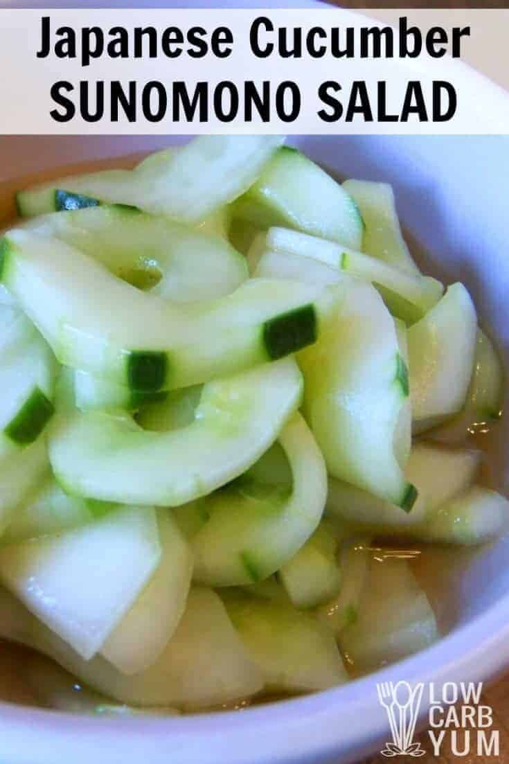 This Japanese cucumber sunomono salad is made with rice vinegar, soy sauce and ginger? It's a great change from the traditional low carb cucumber salad.