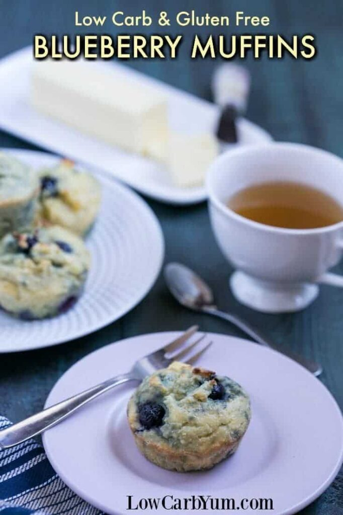 Yummy low carb blueberry muffins to start your day. These gluten free muffins are quick and easy to prepare as a warm breakfast treat. | LowCarbYum.com
