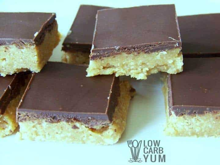 Low carb peanut butter cups in easy to make squares front