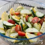 Low carb yellow summer squash zucchini tomato salad