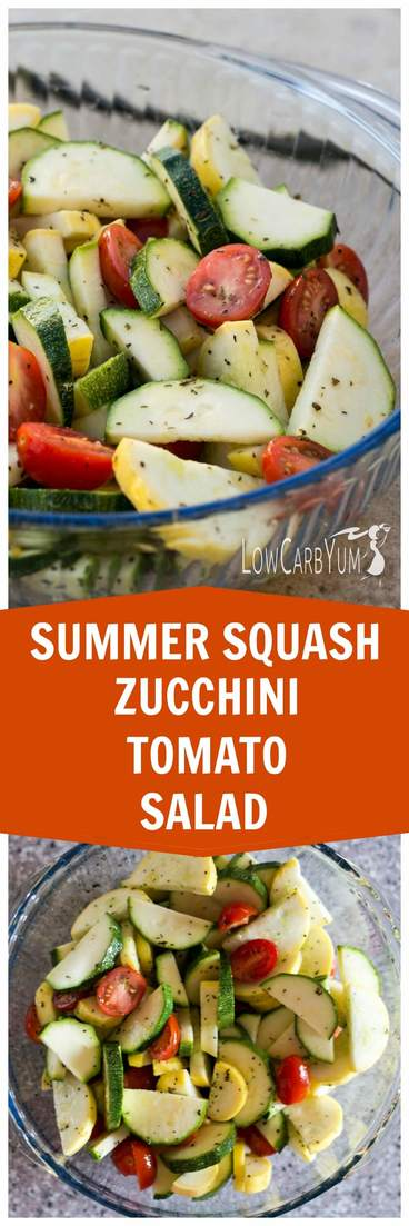A stevia sweetened dressing coats vegetables in this simple zucchini and squash salad. This is a great potluck dish to show off your summer garden crop. | LowCarbYum.com