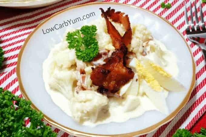 Mock cauliflower low carb potato salad plate