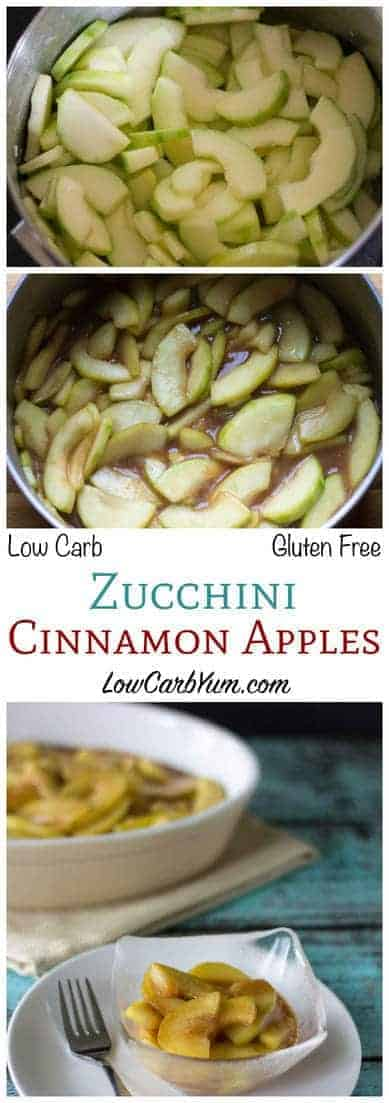 This warm mock low carb apple pie filling will have you fooled. Although made from zucchini, this sweet cinnamon mix tastes like it's made from apples. #lowcarb #lowcarbdessert #mockapplepie| LowCarbYum.com