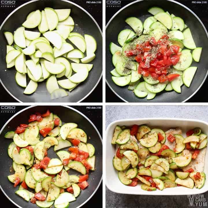 preparing the zucchini and tomato mixture