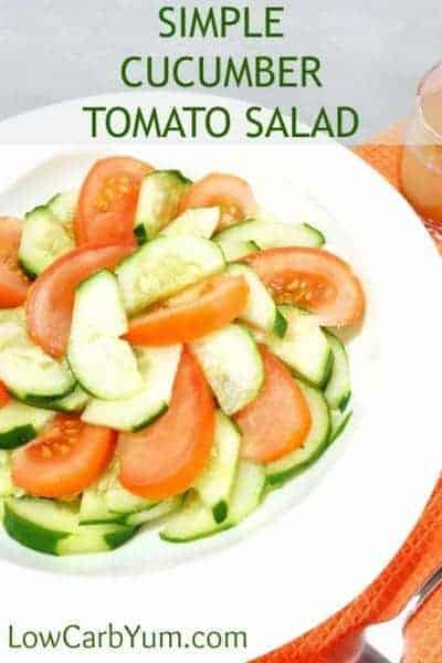 This cucumber tomato salad is an easy way to serve these popular summer garden crops. The simple dressing combines cider vinegar with a bit of water and sweetened with a touch of stevia